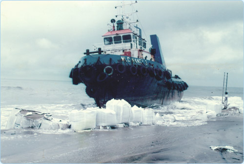 Refloating Grounded Tugboat
